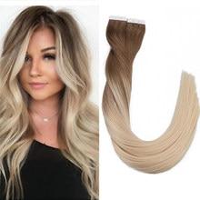 Fita de toysww em extensões de cabelo humano ombre balayage mistura natural fita em extensões de cabelo em linha reta 20 40 peças