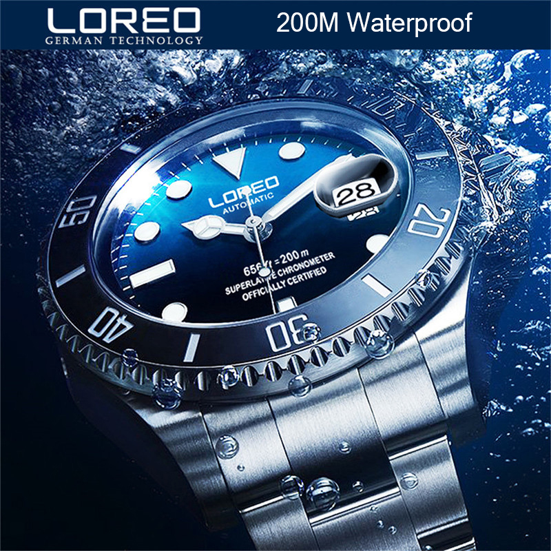 New Watch Men LOREO water Ghost series classic blue dial top brand luxury men automatic watches stainless sport mechanical watch