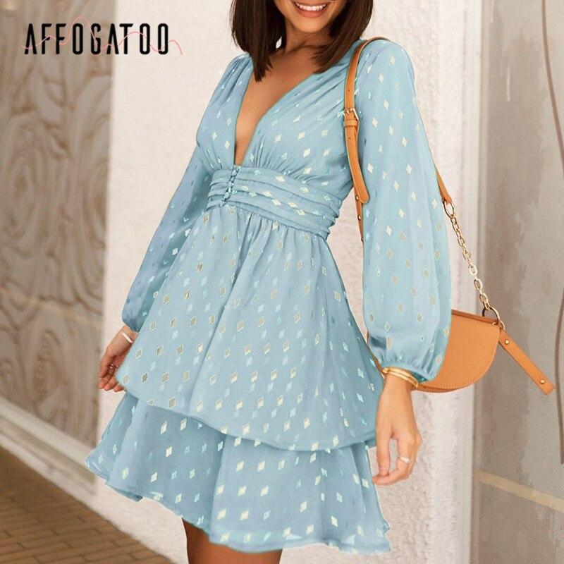 Affogato Sexy Deep V-neck Elegant Women Party Dress Geomatric Print Ruched High Waist Dress Lantern Chiffon Evening Summer Dress