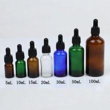 20 stücke 5ml/10ml/15ml/20ml/30ml/50ml Leere bernstein Dropper Flaschen Glas Ätherisches Öl Flüssigkeit Aromatherapie Pipette Parfüm Container