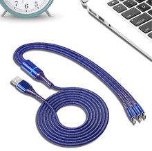 1.2M Data cables 3 In 1 Phone cable with LED indicator USB cables splitter for HUAWEI XIAOMI VIVO APPLE cell phones