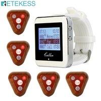 Retekess Restaurant Ausrüstung Pager Wireless Aufruf System Bar Cafe 5 stücke Kellner Anruf Sender Tasten + Uhr Empfänger F3286F