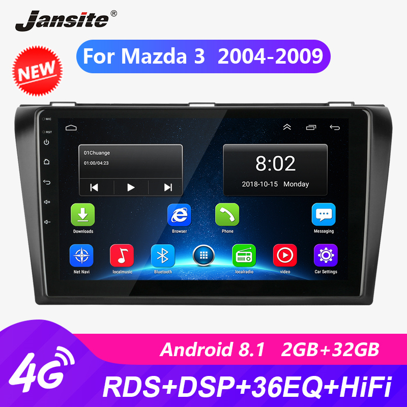 Jansite 9 RDS Car Radio For Mazda 3 2004-2009 Touch screen Android player GPS Navigation 36EQ HIFI autoradio video with frame image