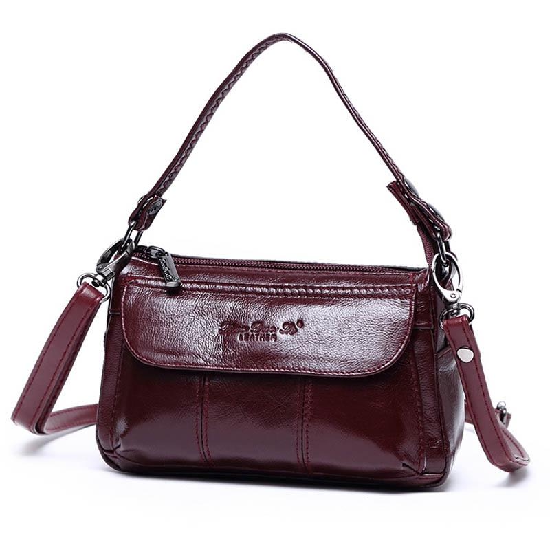 XiaoDuoLi Brand Genuine Leather Mini Handhold Clutches Totes Women's Shoulder Messenger Bag Women Top-handle Handbag