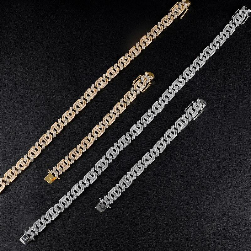 15MM lourd Miami Baguette Zircon glacé lien cubain collier AAA CZ broche réglage colliers Hip Hop bijoux 18 ''24'' - 3
