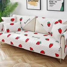 Хлопковый чехол для дивана в клетку полоску современный минималистичный