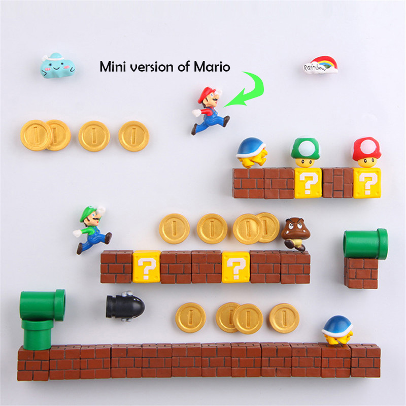 Super Mario Craft Magnets DIY Fridge Refrigerator Magnet TV FC Childhood Cartoon Gaming Cartoon 3D Ice Box Paster Icebox Sticker in Fridge Magnets from Home Garden