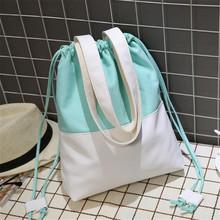 Nowy dopasowane kolory torba na zakupy prosta rozrywka torba na plażę torba na ramię dla ucznia codziennego użytku torebka pojemna torba Tote Bag tanie tanio LKEEP Na co dzień torebka Torby na ramię Na ramię i torby crossbody Płótno Ciąg Miękkie NONE CCS799581 Poliester