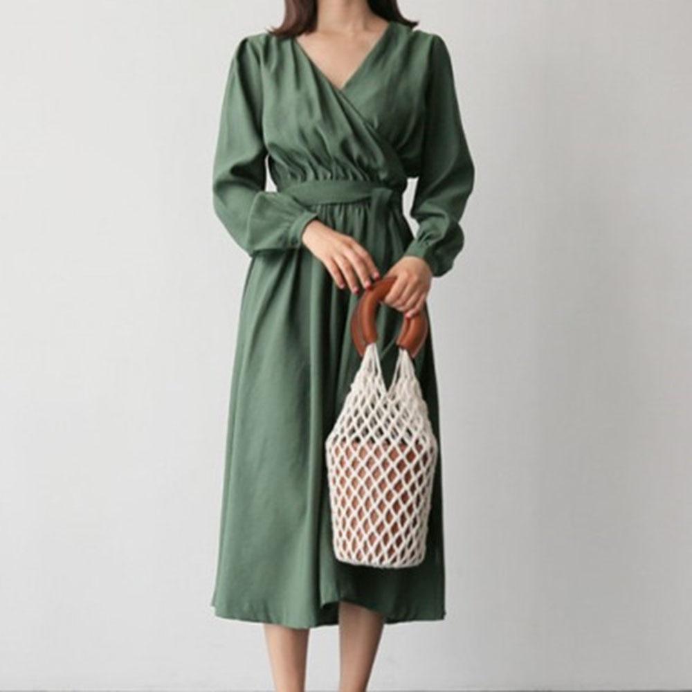 Korean Japanese Style Women Casual Plain Dress Crossover V-neck Lace-up High Waist Mid-Calf Dress Pullover Sundress Workwear