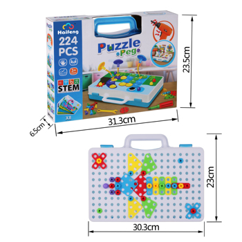 Drilling Screw 3D Creative Mosaic Puzzle Toys For Children Building Bricks Toys Kids DIY Electric Drill 224PCS  Educational Toy 54pcs diy flower building block toy garden building toys educational creative playset pretend toy for kids