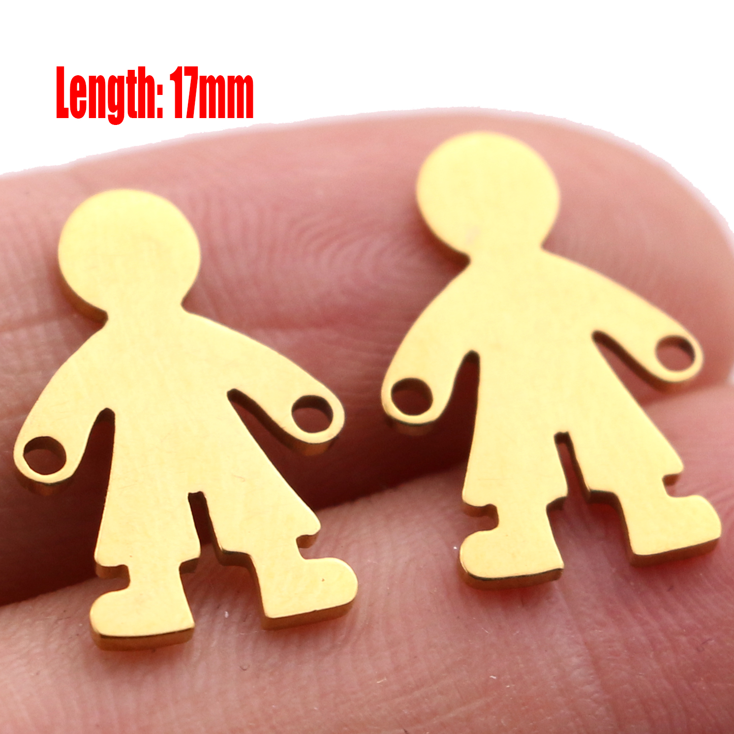 5pcs Family Chain Stainless Steel Pendant Necklace Parents and Children Necklaces Gold/steel Jewelry Gift for Mom Dad New Twice - Цвет: Gold 17