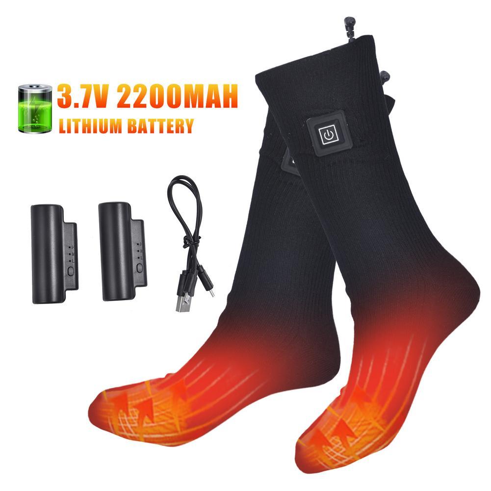 Теплые хлопковые носки с подогревом, спортивные лыжные носки, зимняя грелка для ног, электрические согревающие носки с питанием от батареи ...