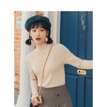 INMAN 2020 Весна новое поступление ретро сплошной Высокий воротник тонкая универсальная трикотажная женская футболка с длинным рукавом