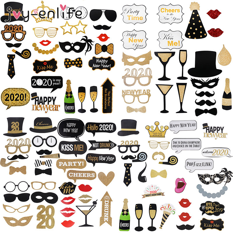 Happy New Year 2020 Photo Booth Props Eve Party Decoration Mascara Mask Gifts New Year Party Christmas Decorations For Home