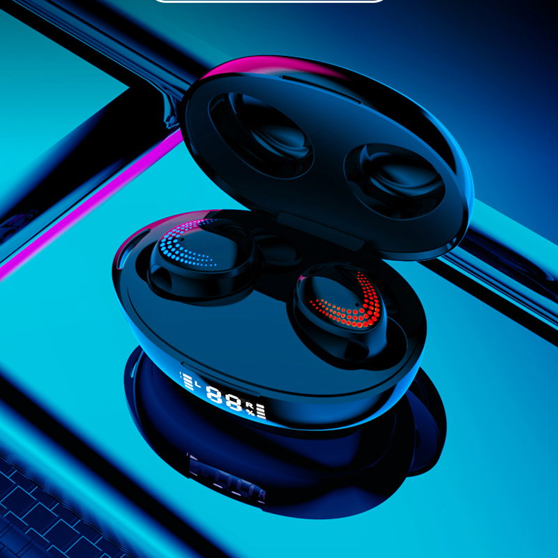 TWS 5.0 Bluetooth Headphone Touch Nirkabel Earphone 9D Hi Fi Stereo Headset Sport Tahan Air Earbud LED Dispaly Earphone