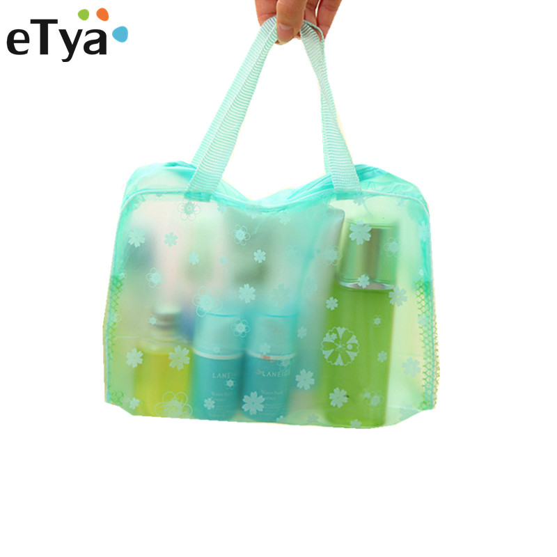 ETya Flower Women Cosmetic Bag Transparent PVC Makeup Bag Case Travel Neceser Small Toiletry Wash Organizer Set Pouch