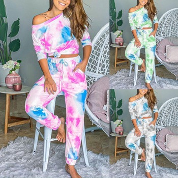2020 Autumn Tie Dye Pajama Set Women Sleep Wear Sleepwear Set Pjs Women's Pajamas Set Lounge Wear Sleeping Set Women Nightwear image
