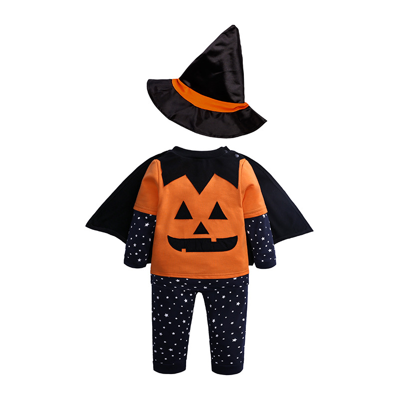 Halloween Newborn Baby Clothing Toddler Baby Boys Girls Halloween Pumpkin Cosplay Costume Set T-shirt Pants Hat Cape Outfits Set
