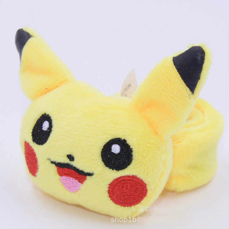 Dos desenhos animados Pokemon Pikachu Crianças Pokeball Pluch Wrist Band Anel Bater Palmas Criança Presente Brinquedo de Pelúcia Cosplay Wartortle