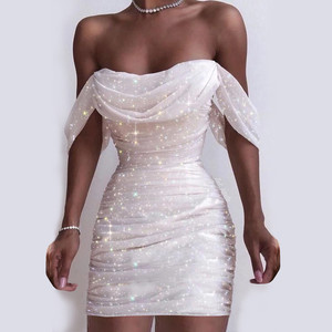 Double Mesh Pleated Sexy Bodycon Dress Off Shoulder Strapless Summer Women Dress White Backless Club Party Dress Vestidos#J30