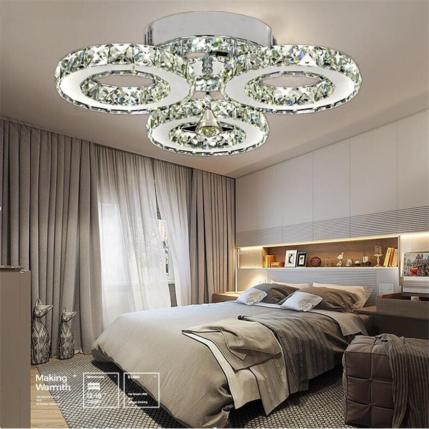 H2b371ca7a23e47a28f4ada468a995a1f1 Modern Crystal Rings Ceiling Chandelier Lights Silver Crystal Led Plafonnier for Bedroom Kitchen Ceiling Lamp Lustre
