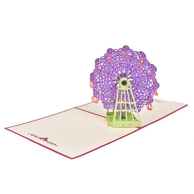 1 Juego de tarjeta de felicitación estereoscópica 3D + sobres graduaciones de cumpleaños regalo del Día del Padre Souvenirs modelo realista noria/velero
