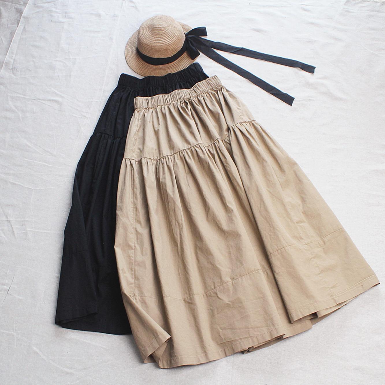 2020 New High Waist Women Summer Cotton Skirt Saia Elastic Waist Women A-Line Khaki Skirt Faldas Jupe Femme