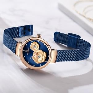Image 5 - NAVIFORCE الأزرق جلدية ووتش النساء ساعات كوارتز السيدات عالية الجودة للماء ساعة اليد هدية ل زوجة 2019 Relogio Feminino