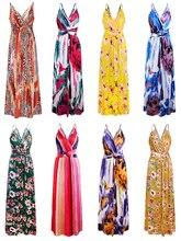 Цветочный принт вязать вечернее платье V-образным вырезом подтяжки платье сексуальное спинки платье мода пляж платье XUCTHHC 2020 весна осень новый