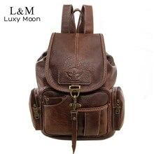 Vintage kobiety plecak dla nastoletnich dziewcząt torby szkolne duże plecaki ze sznurkiem wysokiej jakości PU skóra czarny brązowy torba XA658H