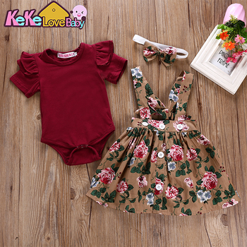 Newborn Infant Baby Girl Summer Clothes Set Short Sleeve Bodysuit Floral Belt Dress Overalls 3Pcs Outfits Toddler Girls Clothing