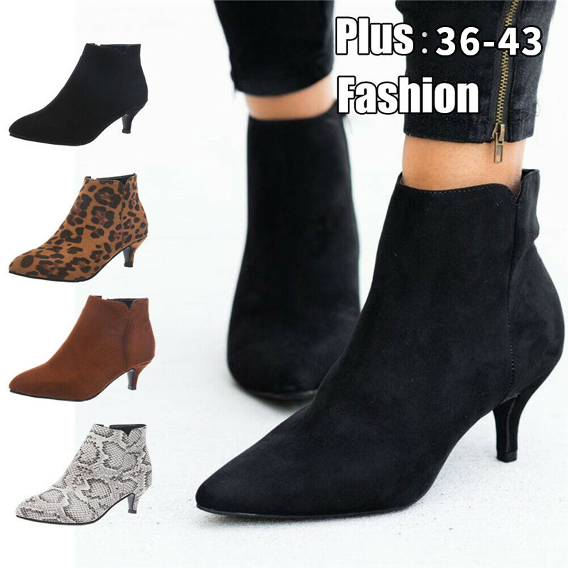 NIS Ankle-Boot Mid-Stiletto-Heel Pointed-Toe Leopard-Print Women Suede Outdoor-Shoe Party-Work