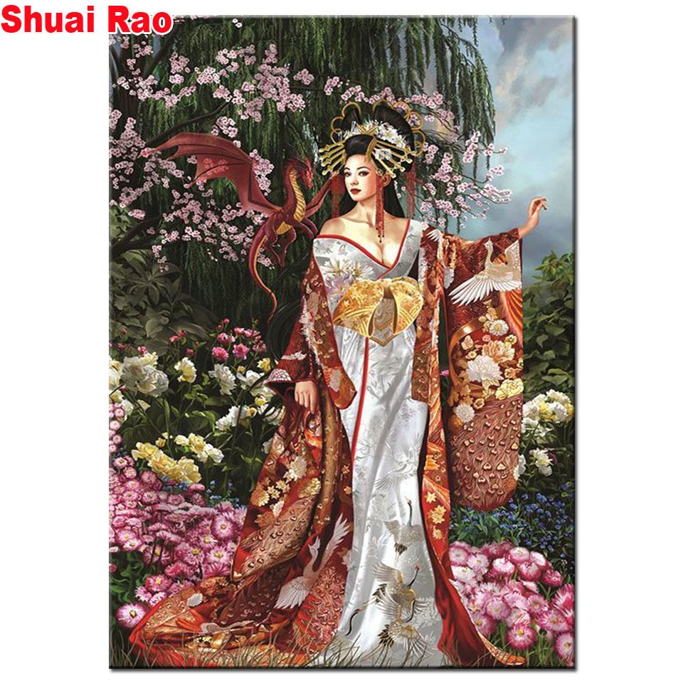 Oriental woman Diamond Painting Painted Mosaic full square round drills Ancient woman Dragon Cross stitch Embroidery Crafts art
