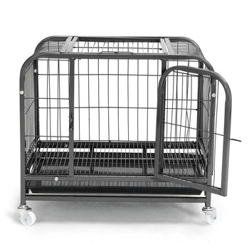 large-heavy-duty-folding-pet-dog-puppy-cage-cat-crate-carrier-wheels-pet-supplies-78x54x72cm