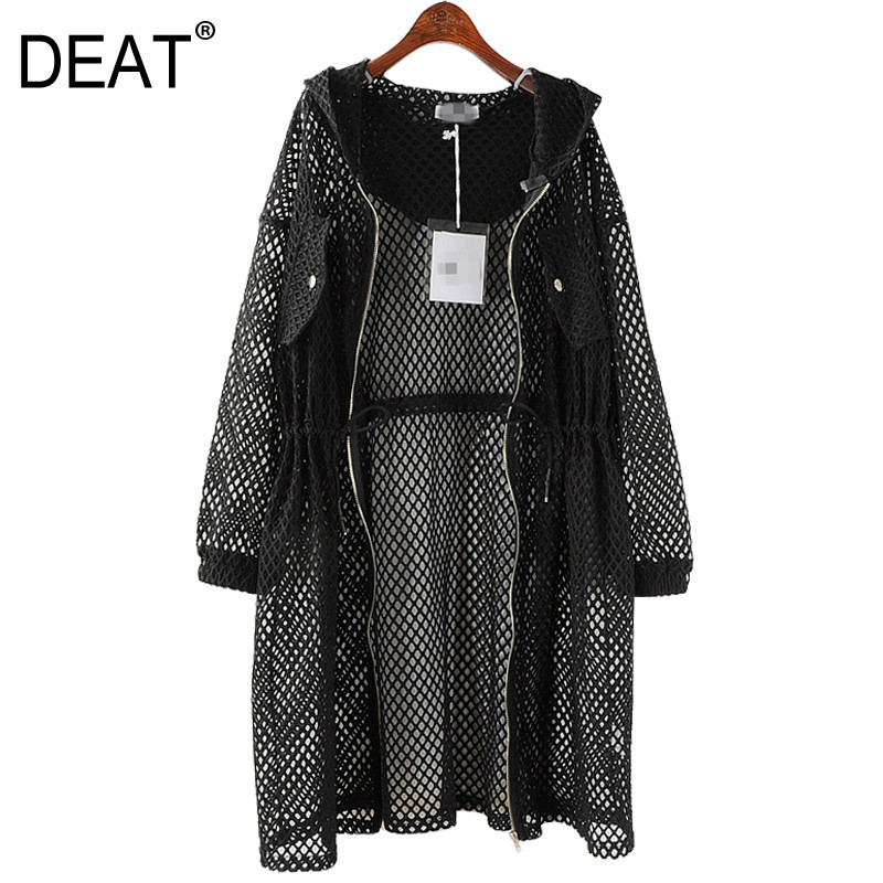 DEAT New Spring 2020 Fashion Black Big Size Net Mesh Drawstring Waist Hooded Hollow Thin Loose Windbreaker Women QD369