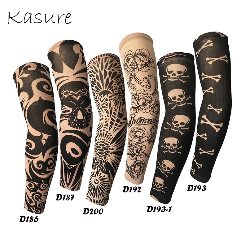 Kasure 1pc Printed Arm Sleeves Fake Tattoo Unisex Arm UV Protection Outdoor Cycling Hip Hop Punk Slip On Tattoo Sunscreen Cuff