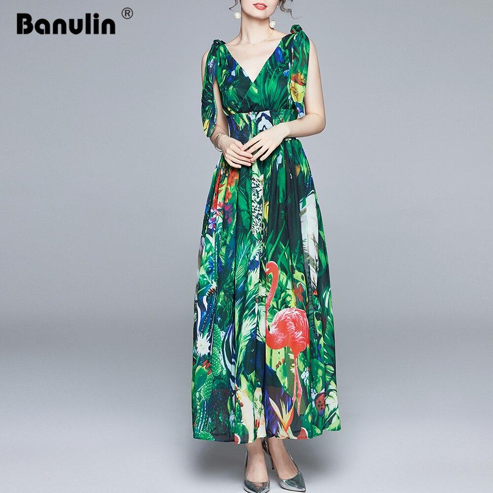 Banulin Summer Runway Maxi Dress Women's V-Neck Bow tie Strap elastic Waist Green jungle Print Holiday Boho Chiffon Long Dress