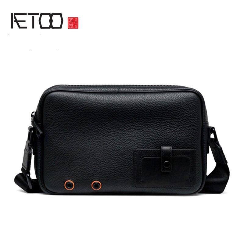 AETOO Slant bag, men's fashion trend shoulder bag, men's leather slant bag, vintage leather men's bag