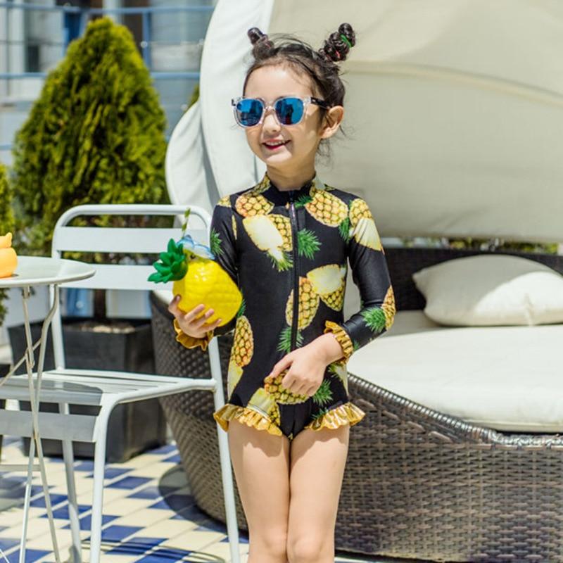 KID'S Swimwear GIRL'S Long Sleeve Sun-resistant Pineapple Baby One-piece Children Swimwear Girls Swimwear
