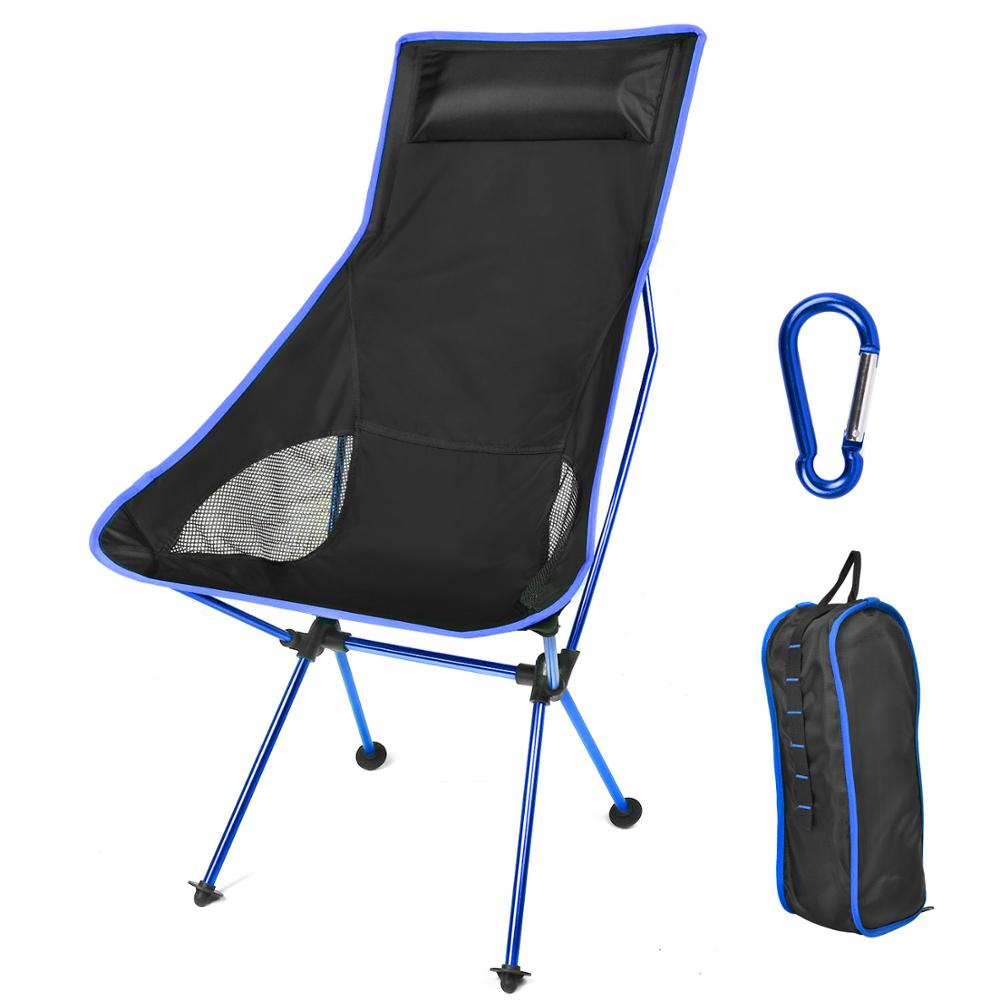 Dark Blue Portable Moon Chair Fishing Camping Chair Folding Extended Hiking Seat Blue Red Ultralight Office Home Furniture