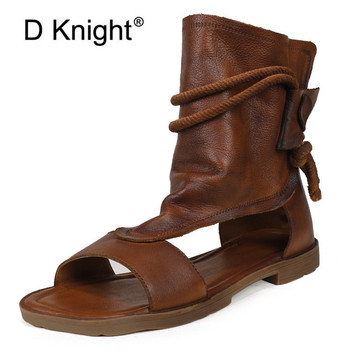 Summer 2020 New Women Sandals Retro High-Top Gladiator Sandals For Women Genuine Leather Hemp Rope Strap Lady Flat Sandals Shoes