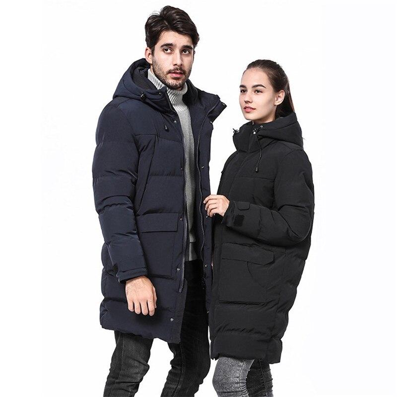 Новинка 2019, мужское хлопковое пальто, Мужская зимняя длинная толстая куртка с капюшоном, свободная повседневная Толстая черная куртка, боль...
