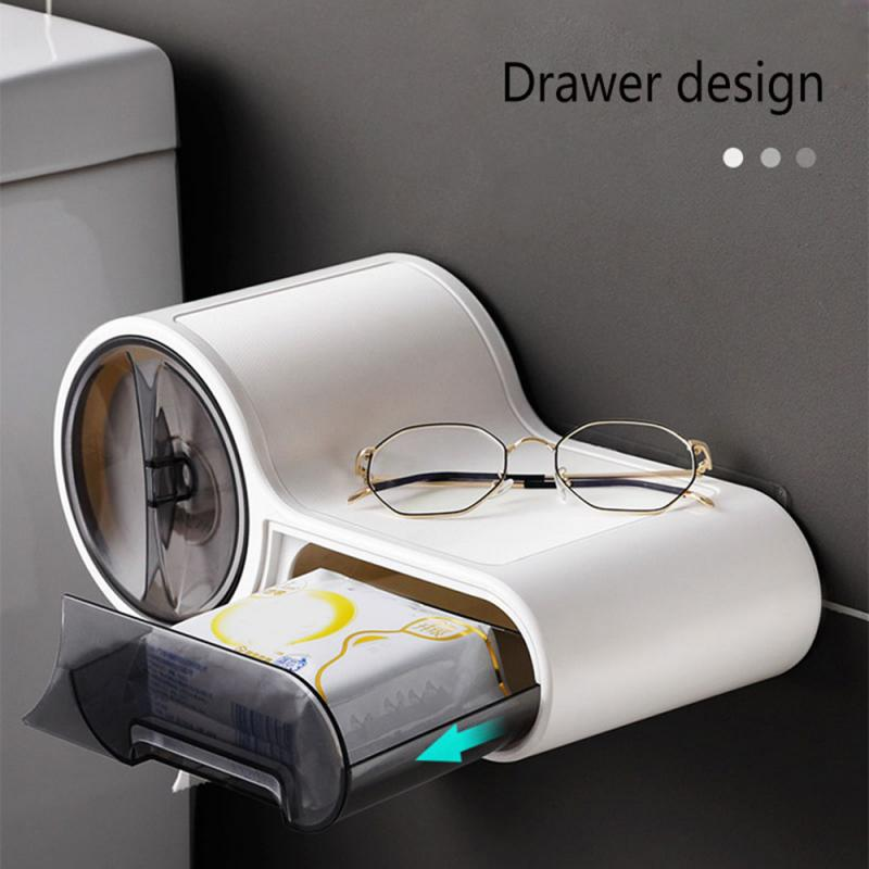 Multifunction Toilet Paper Holder Bathroom Plastic Tissues Box Storage Rack Wall Mounted Kitchen Roll Holder Shelf Waterproof