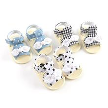Summer Toddler Baby Girls Bow Plaid Breathable Anti-Slip Soft Soled Sandals