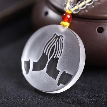 JoursNeige Scrub Natural White Crystal Blessing Buddha Pendant Necklace Peace Tranquility for Women Men Fashion Pendant Jewelry
