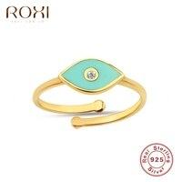 ROXI-Anillo de plata de primera ley con ojo verde para mujer, sortija ajustable, plata esterlina 925, abierto, boda, banquete