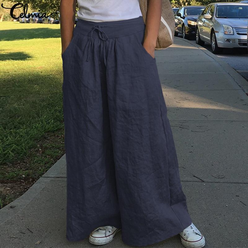 Fashion Wide Leg Pants 2019 Celmia Women High Waist Cotton Linen Palazzo Casual Loose Trousers Vintage Pantalon Femme Plus Size