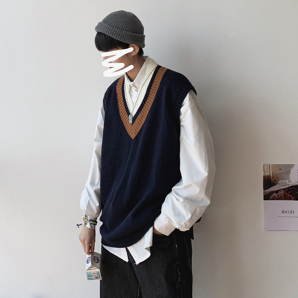 2019 para hombre moda holgada marrón/azul marino chaleco moda cuello en V tejido chaleco pulóver abrigos de talla grande M-2XL Suéter de invierno para hombre suéter informal hombre ajustado Jersey de punto