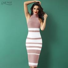 ADYCE 2020 חדש אלגנטי תחבושת שמלת נשים אופנה עירום ולבן פסים Bodycon Midi שמלת Vestidos לילה מועדון מסיבת שמלות