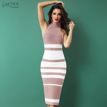 ADYCE 2020 ใหม่ Elegant ผ้าพันคอผู้หญิงเปลือยและสีขาวลาย Bodycon MIDI ชุด Vestidos Night Club PARTY Dresses
